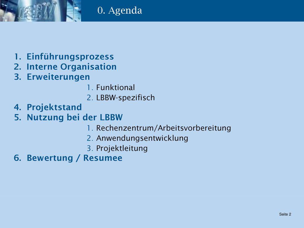 0. Agenda Einführungsprozess Interne Organisation 3. Erweiterungen