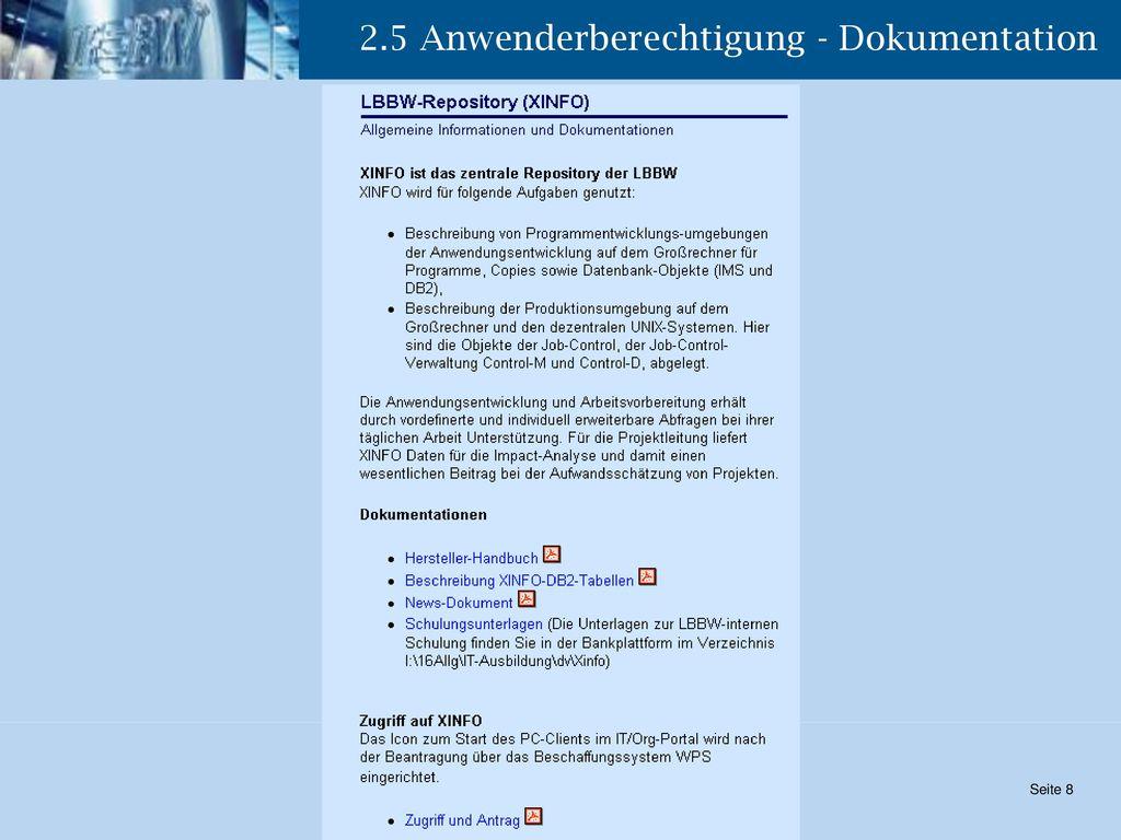 2.5 Anwenderberechtigung - Dokumentation