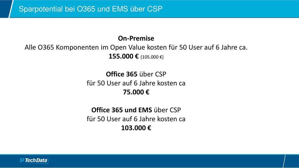 Sparpotential bei O365 und EMS über CSP