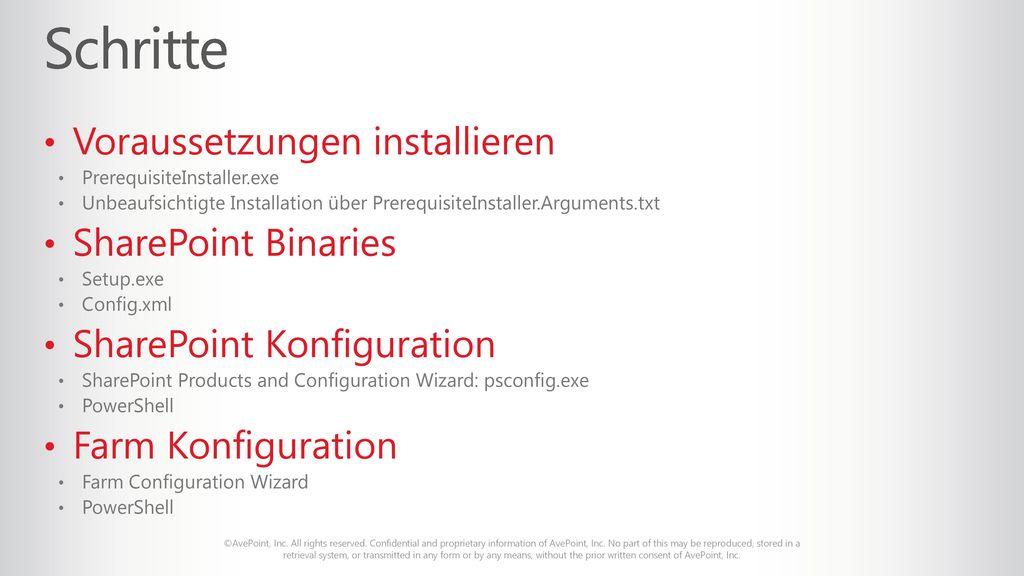 Schritte Voraussetzungen installieren SharePoint Binaries