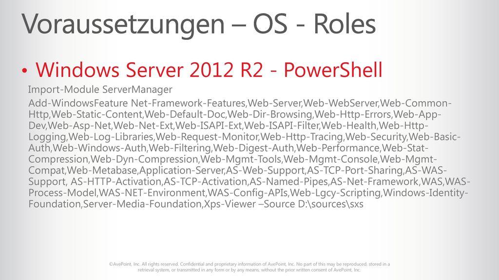 Voraussetzungen – OS - Roles
