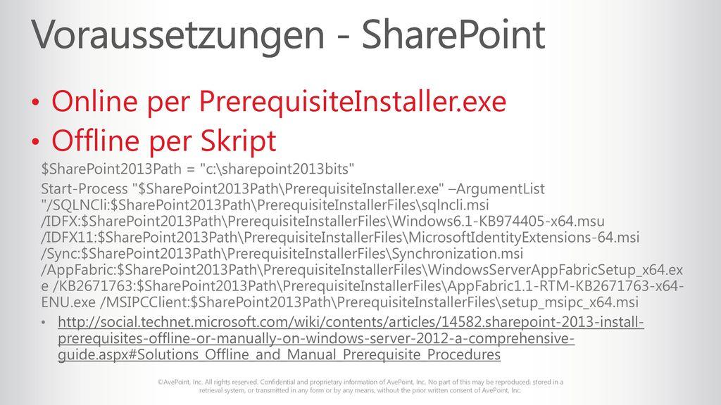 Voraussetzungen - SharePoint