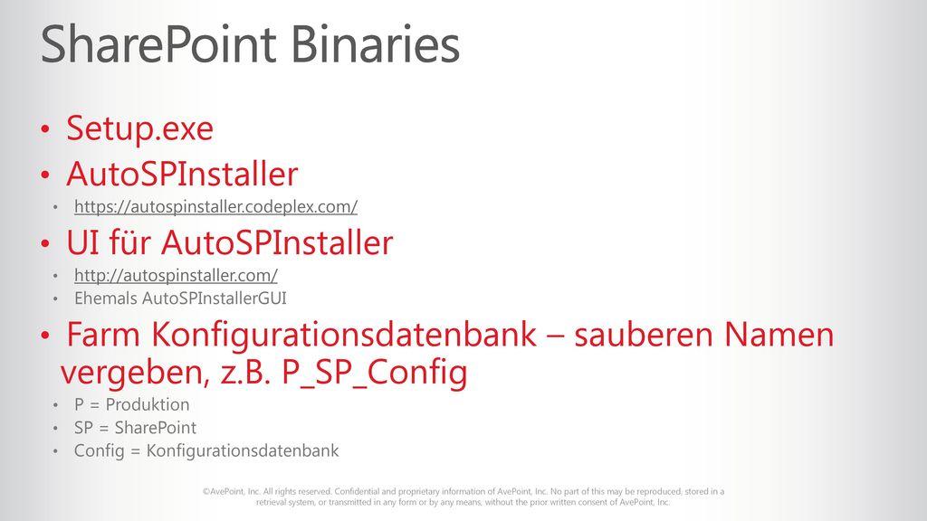 SharePoint Binaries Setup.exe AutoSPInstaller UI für AutoSPInstaller
