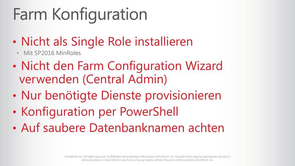 Farm Konfiguration Nicht als Single Role installieren