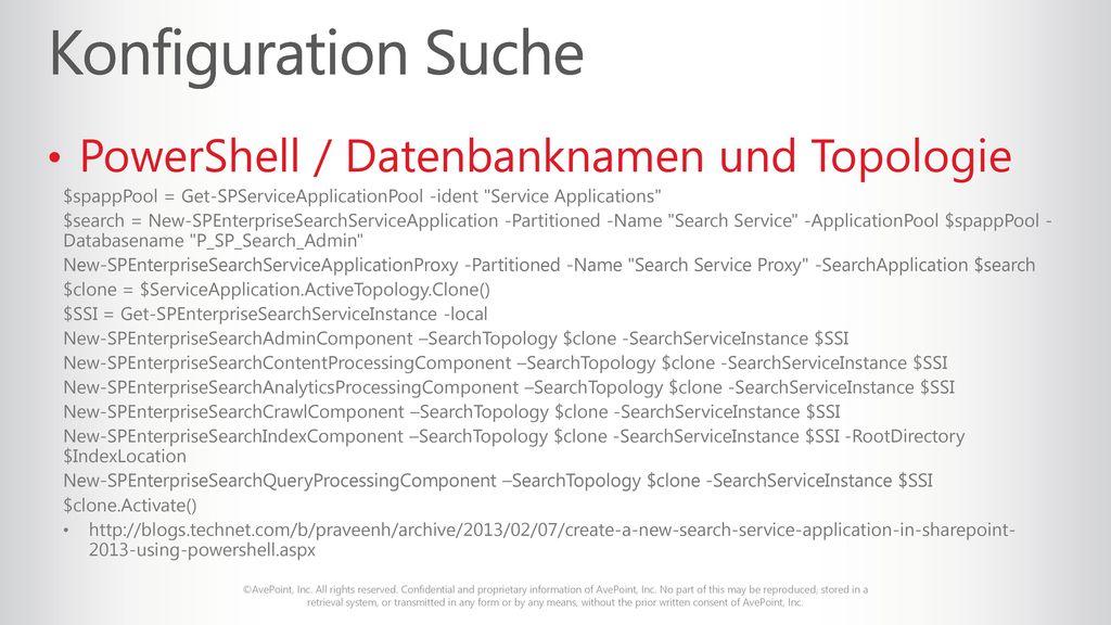 Konfiguration Suche PowerShell / Datenbanknamen und Topologie