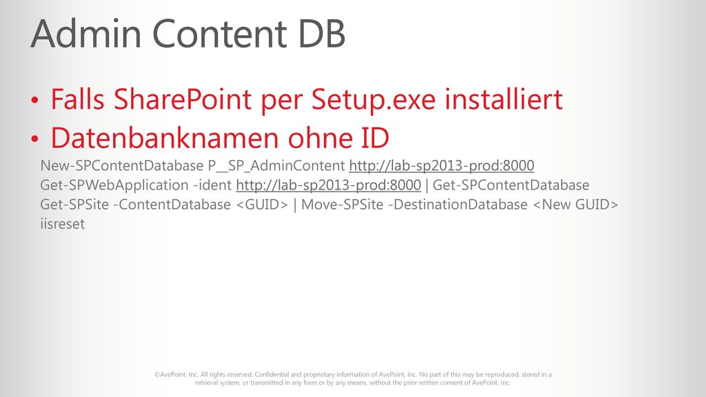 Admin Content DB Falls SharePoint per Setup.exe installiert
