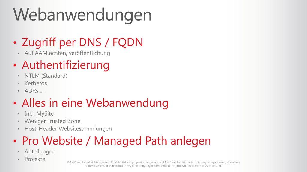 Webanwendungen Zugriff per DNS / FQDN Authentifizierung