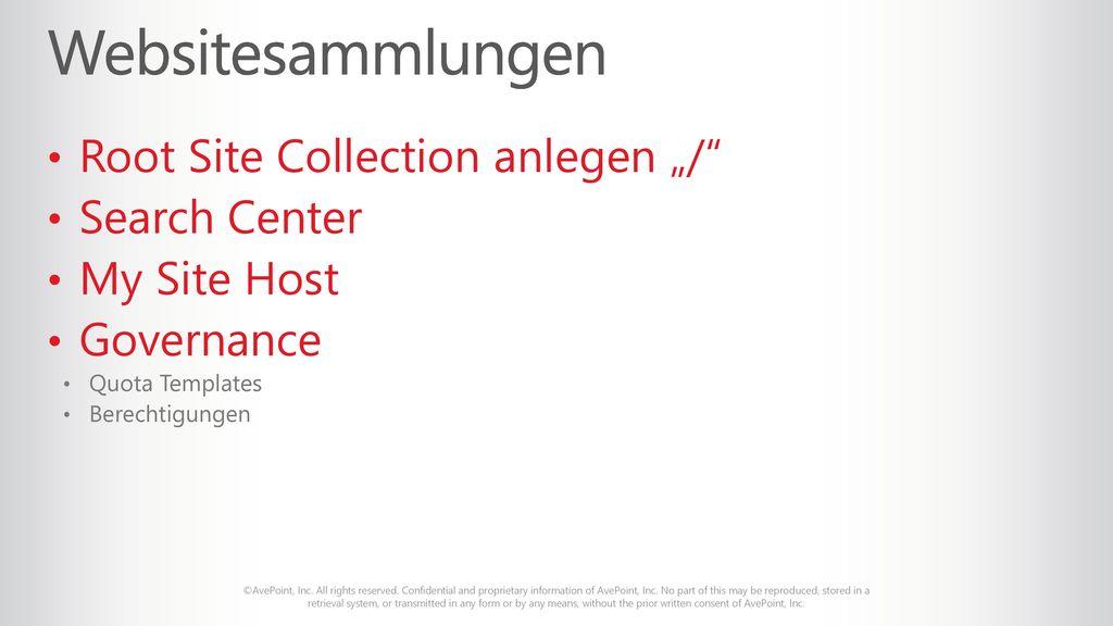 "Websitesammlungen Root Site Collection anlegen ""/ Search Center"