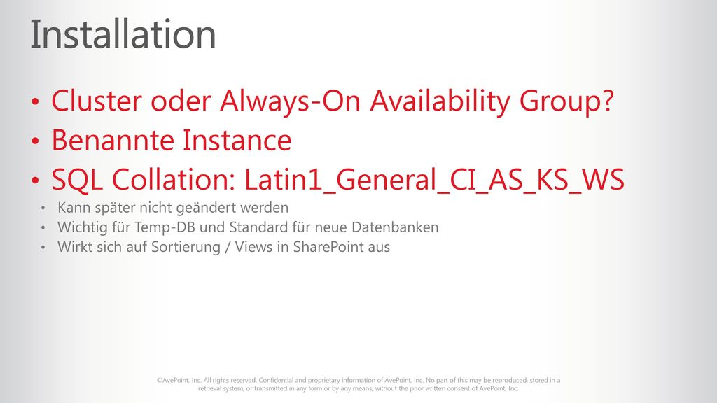 Installation Cluster oder Always-On Availability Group