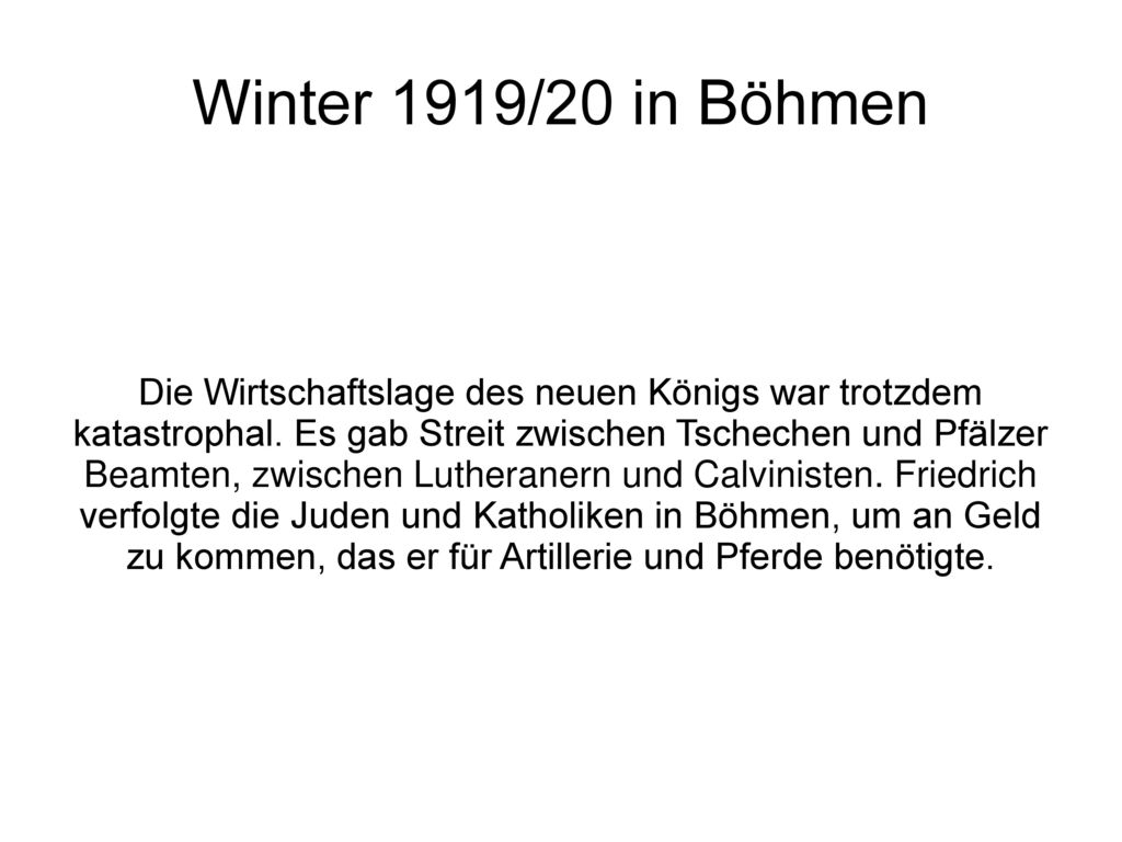 Winter 1919/20 in Böhmen