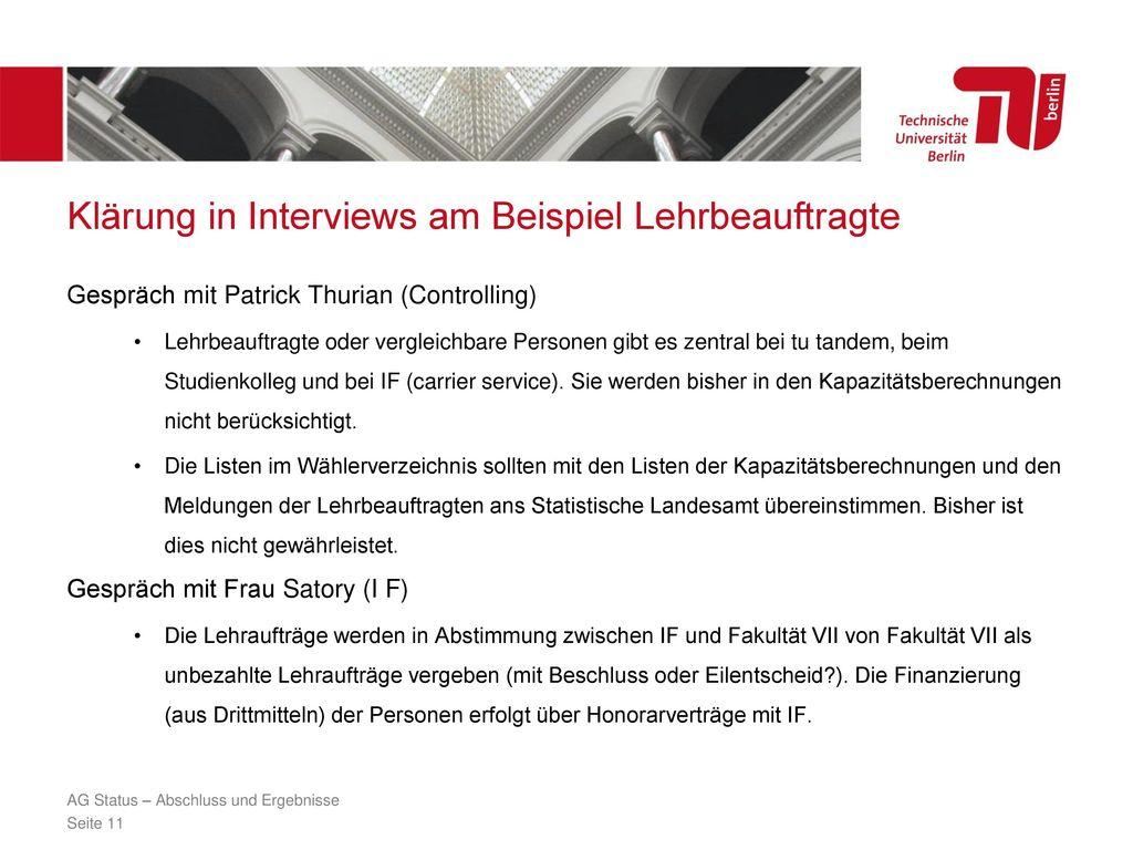Klärung in Interviews am Beispiel Lehrbeauftragte