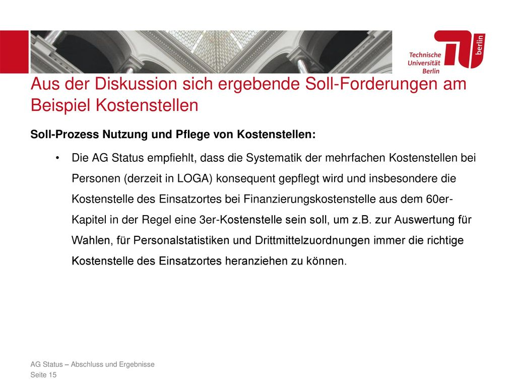 Aus der Diskussion sich ergebende Soll-Forderungen am Beispiel Kostenstellen