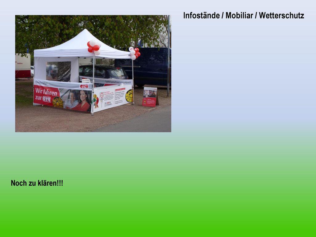 Infostände / Mobiliar / Wetterschutz