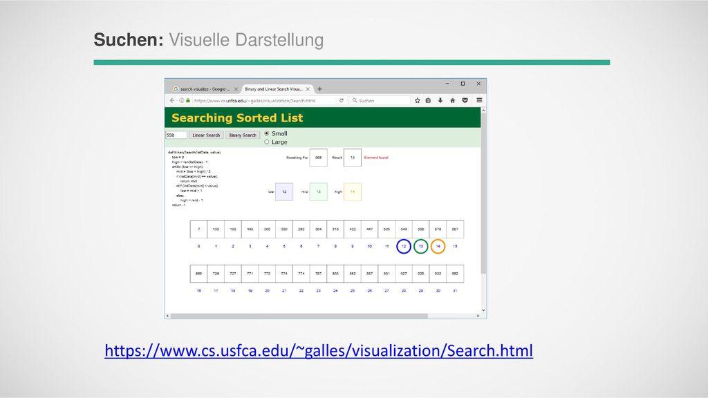 Suchen: Visuelle Darstellung