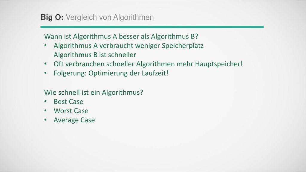 Big O: Vergleich von Algorithmen