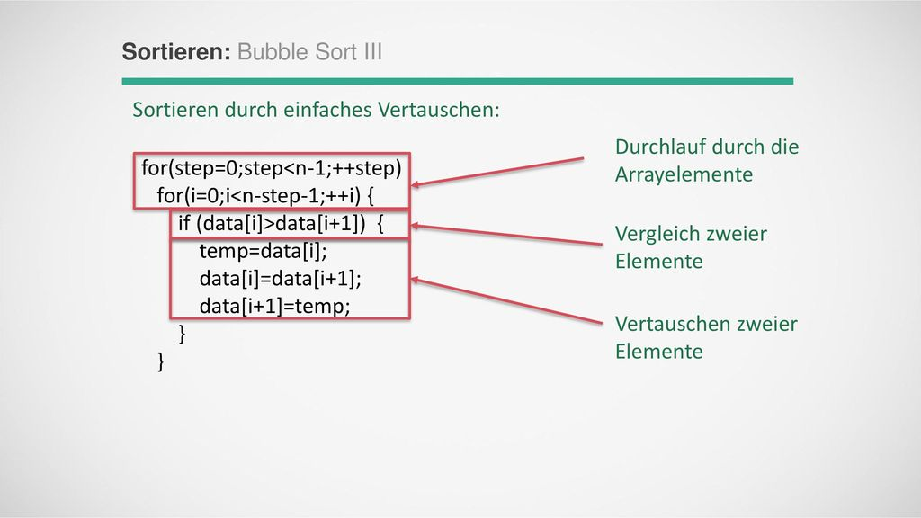 Sortieren: Bubble Sort III
