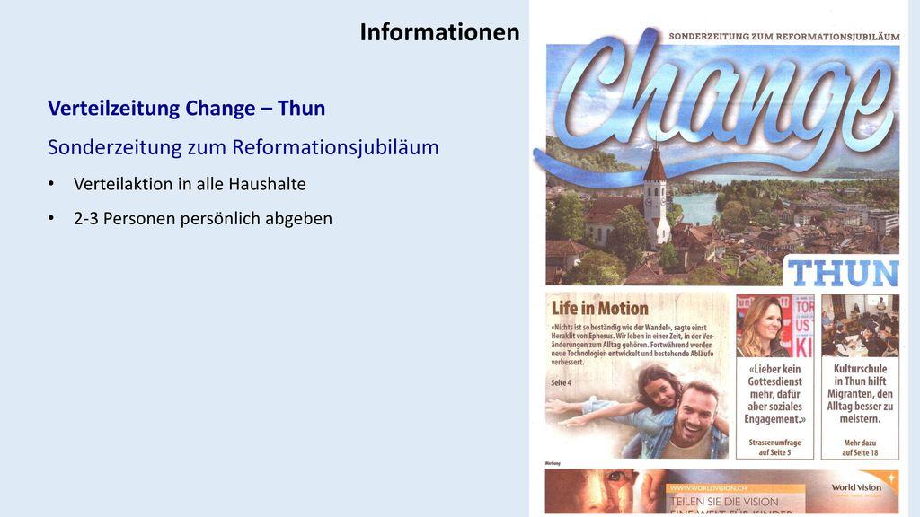 Informationen Verteilzeitung Change – Thun