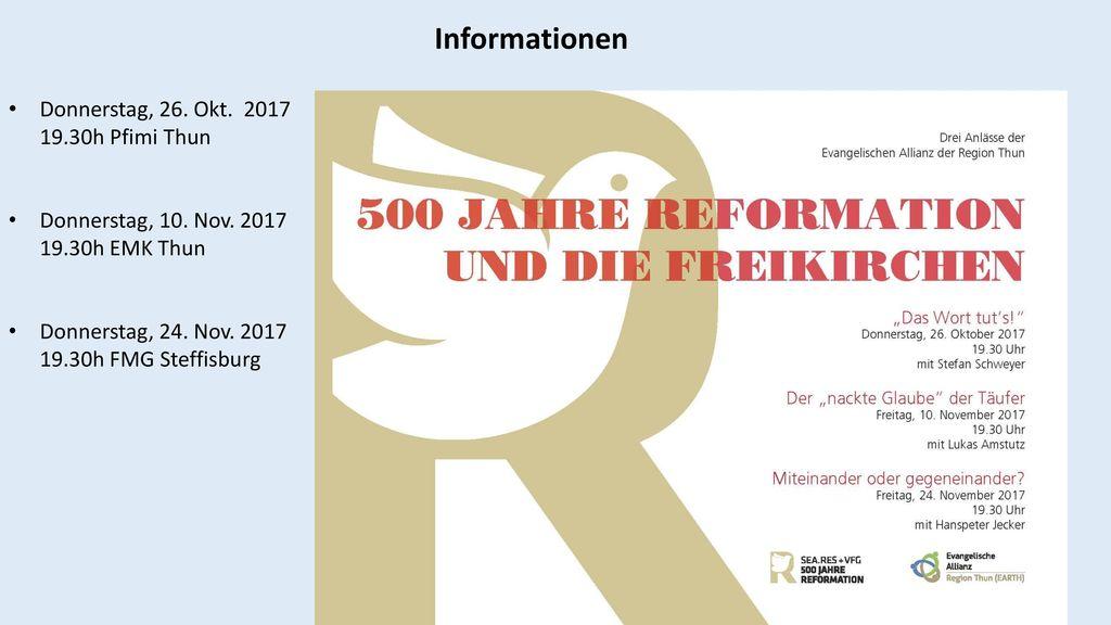 Informationen Donnerstag, 26. Okt. 2017 19.30h Pfimi Thun