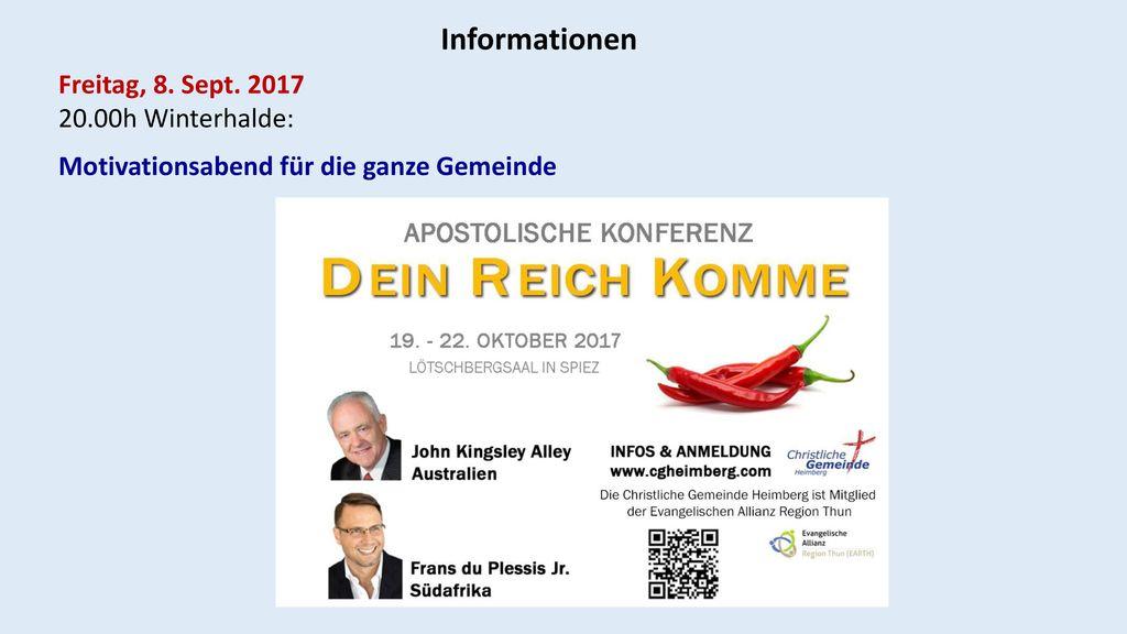 Informationen Freitag, 8. Sept. 2017 20.00h Winterhalde: