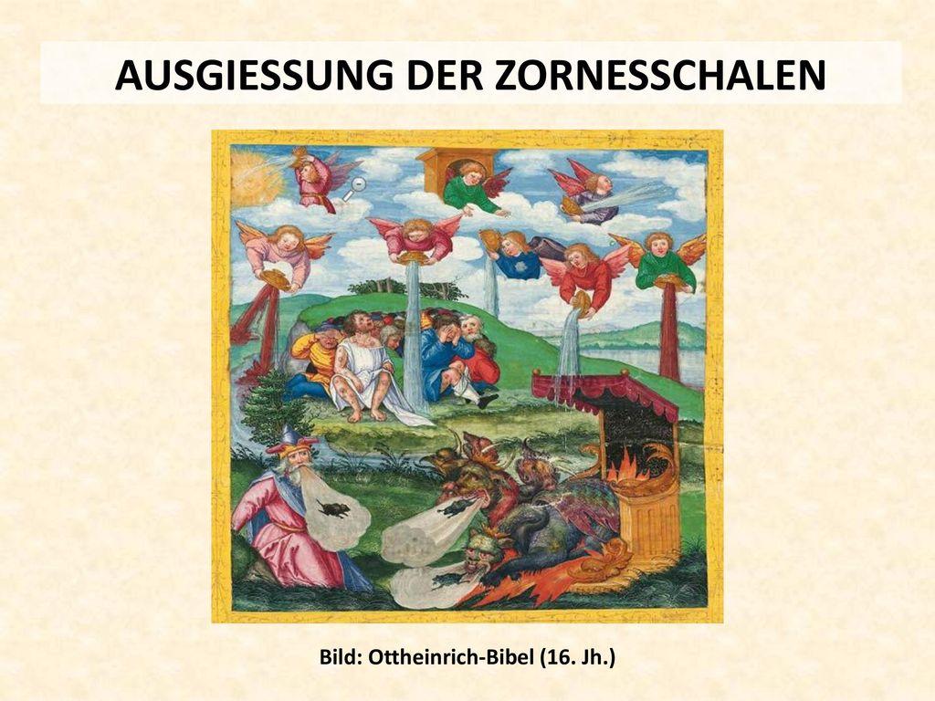 AUSGIESSUNG DER ZORNESSCHALEN Bild: Ottheinrich-Bibel (16. Jh.)