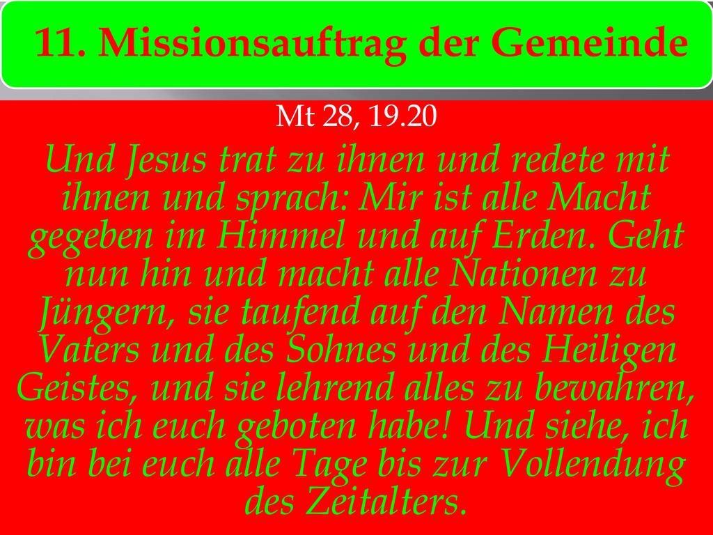 11. Missionsauftrag der Gemeinde