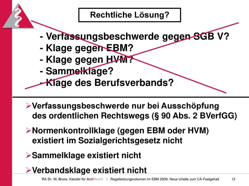Rechtliche Lösung - Verfassungsbeschwerde gegen SGB V - Klage gegen EBM - Klage gegen HVM - Sammelklage - Klage des Berufsverbands