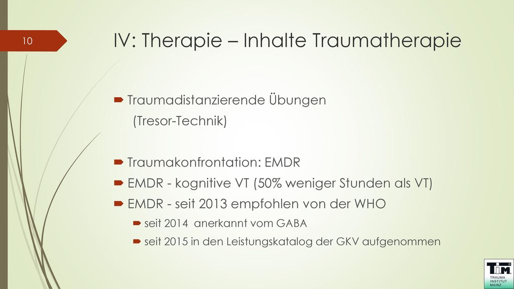IV: Therapie – Inhalte Traumatherapie