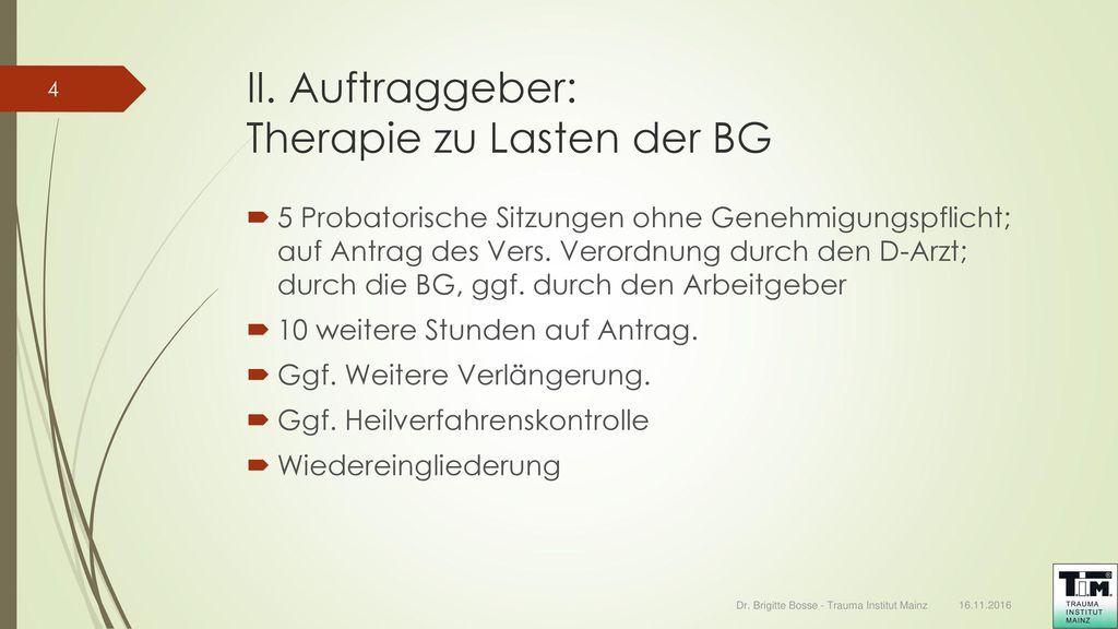 II. Auftraggeber: Therapie zu Lasten der BG