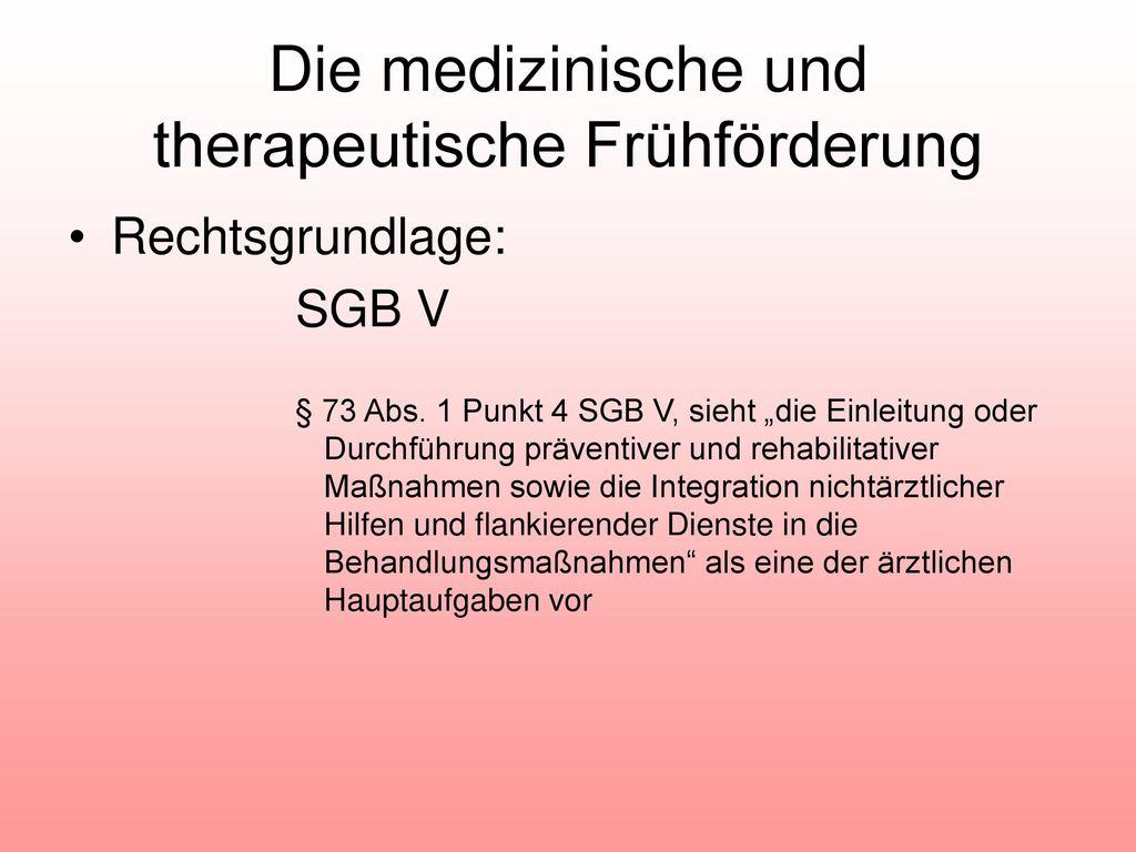 Die medizinische und therapeutische Frühförderung