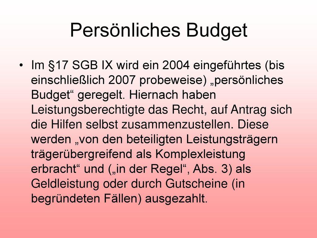 Persönliches Budget