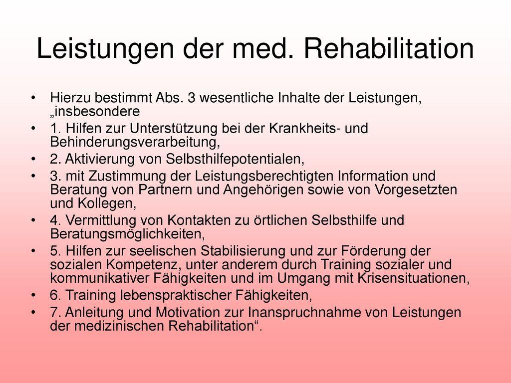Leistungen der med. Rehabilitation