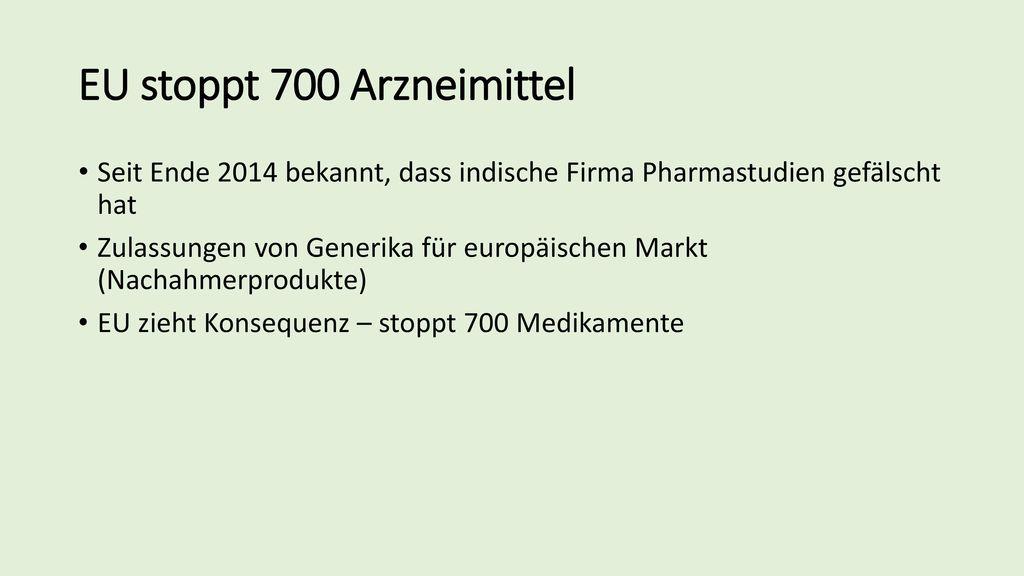 EU stoppt 700 Arzneimittel