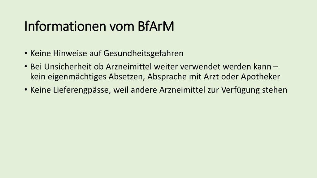 Informationen vom BfArM