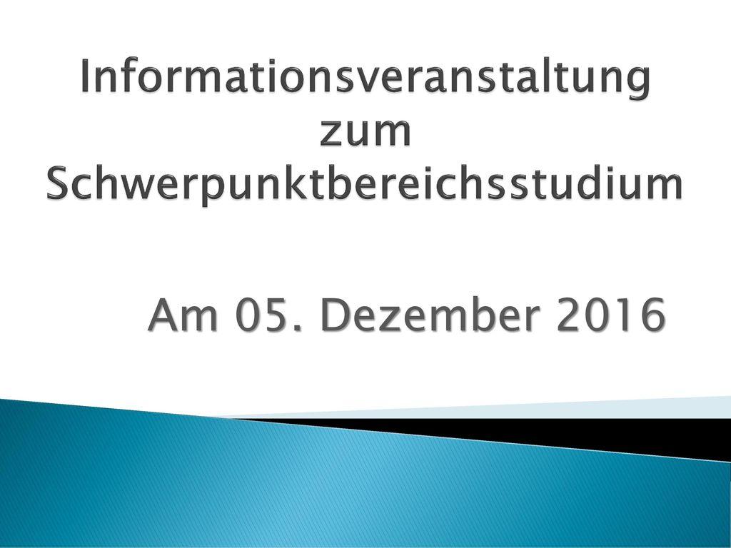 Informationsveranstaltung zum Schwerpunktbereichsstudium