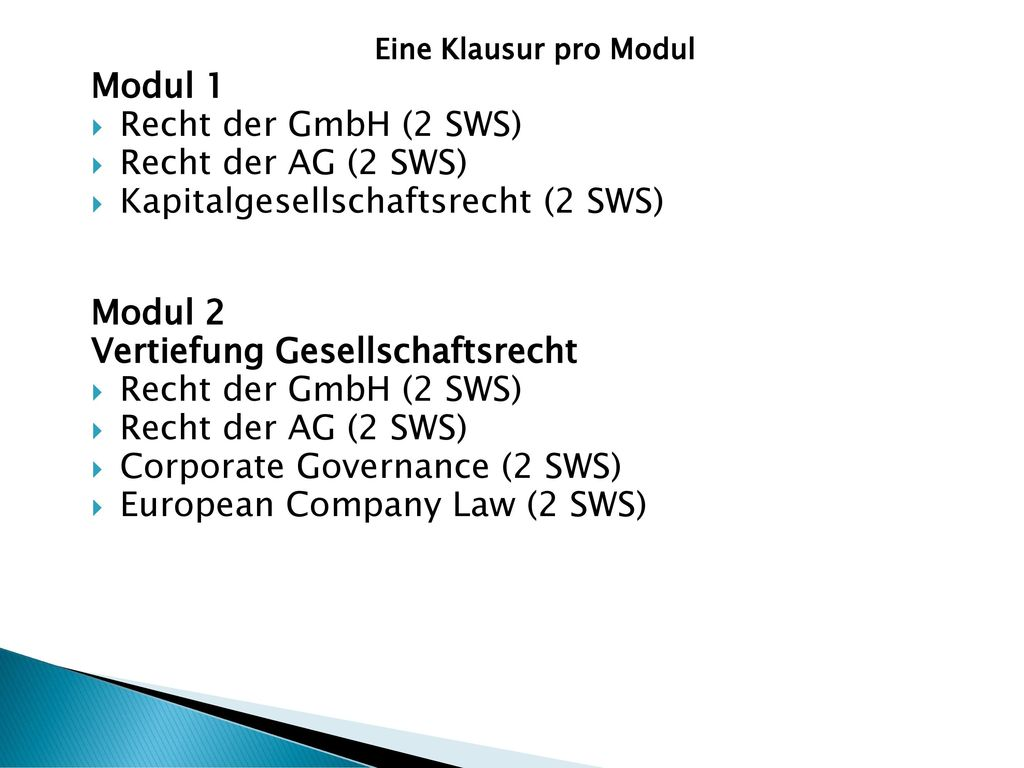 Kapitalgesellschaftsrecht (2 SWS)