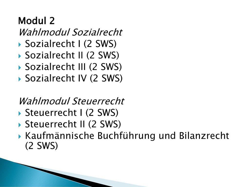 Modul 2 Wahlmodul Sozialrecht. Sozialrecht I (2 SWS) Sozialrecht II (2 SWS) Sozialrecht III (2 SWS)