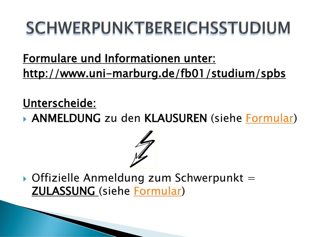 SCHWERPUNKTBEREICHSSTUDIUM