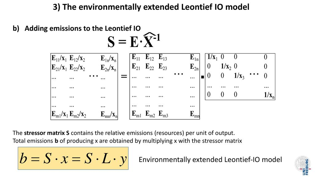 3) The environmentally extended Leontief IO model