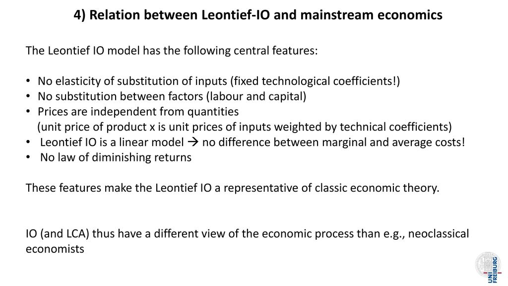 4) Relation between Leontief-IO and mainstream economics