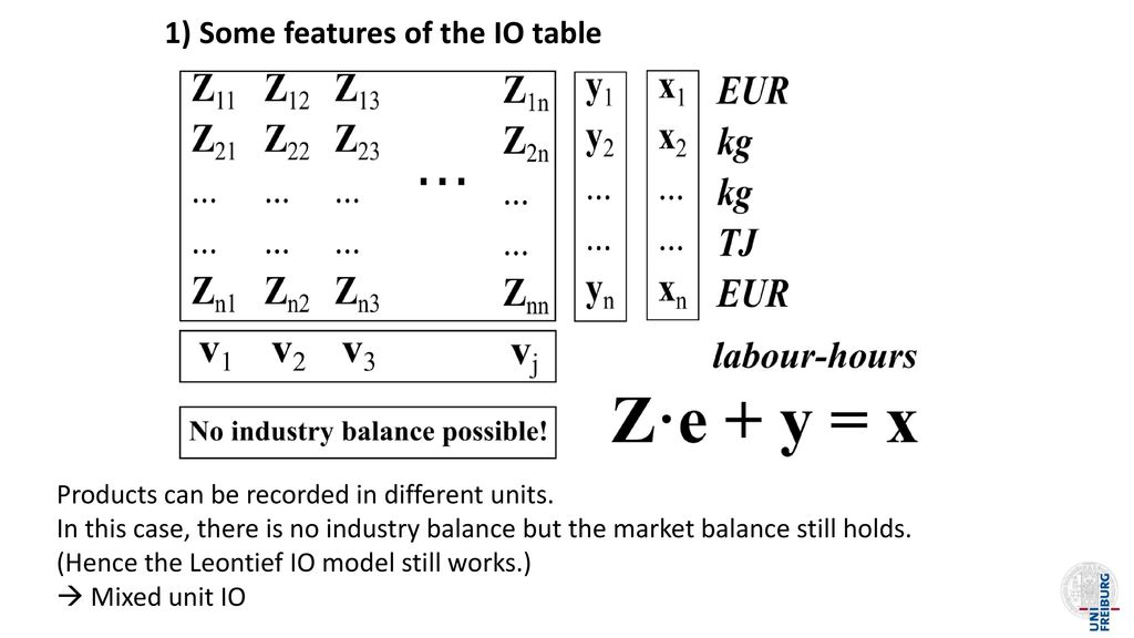 1) Some features of the IO table
