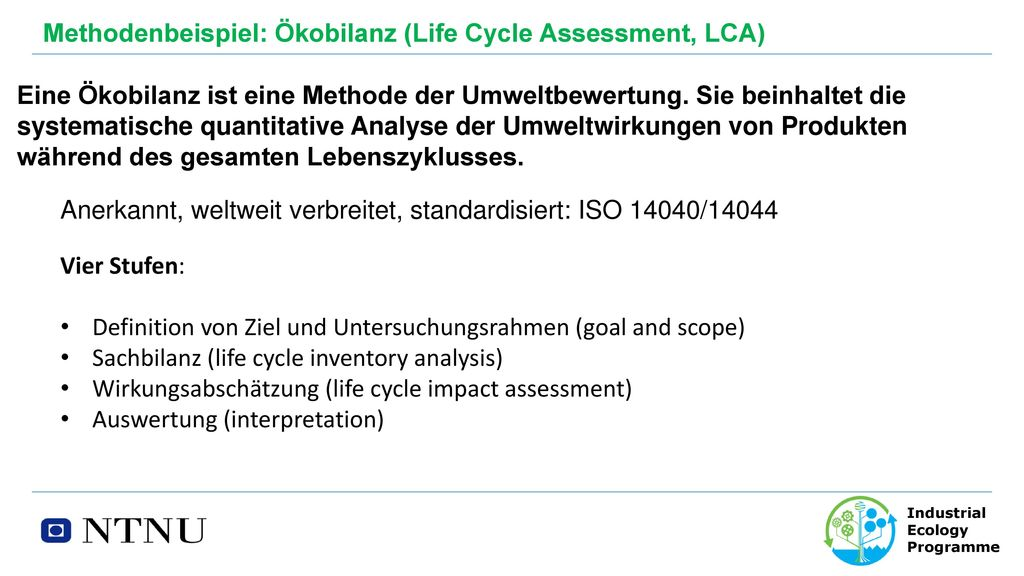 Methodenbeispiel: Ökobilanz (Life Cycle Assessment, LCA)