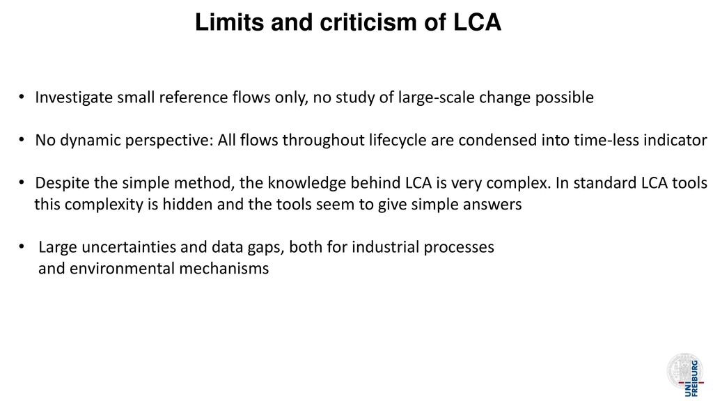 Limits and criticism of LCA