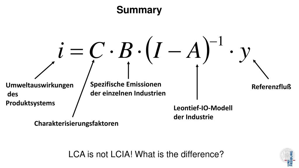 Summary LCA is not LCIA! What is the difference