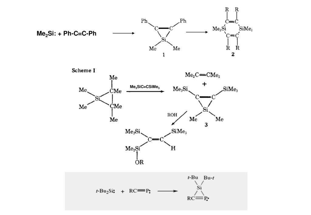 Me2Si: + Ph-CC-Ph Me3SiCCSiMe3