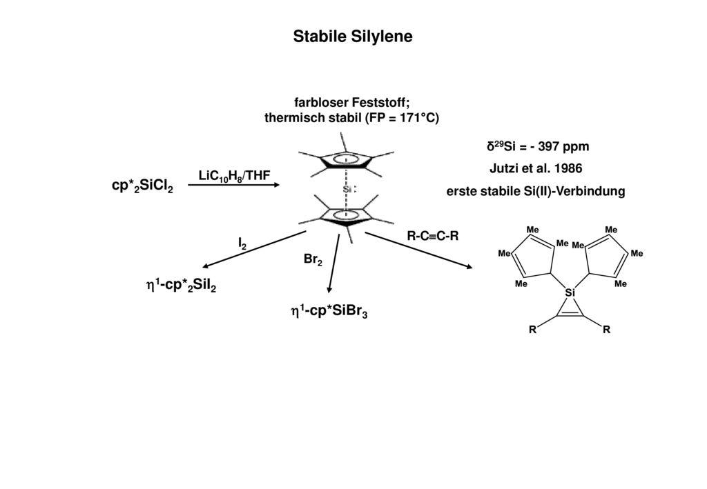 Stabile Silylene cp*2SiCl2 1-cp*2SiI2 1-cp*SiBr3
