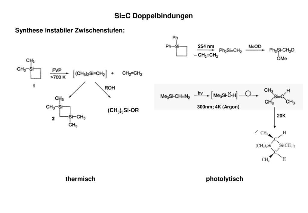 Si=C Doppelbindungen Synthese instabiler Zwischenstufen: thermisch