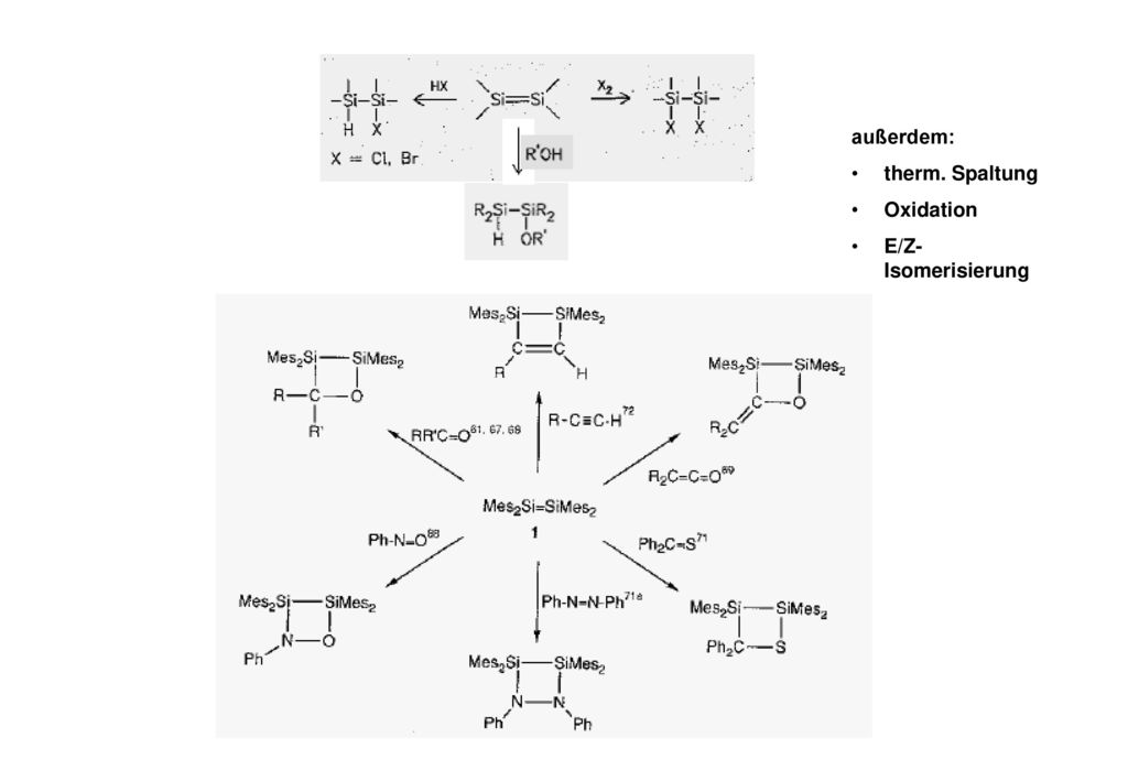 außerdem: therm. Spaltung Oxidation E/Z-Isomerisierung