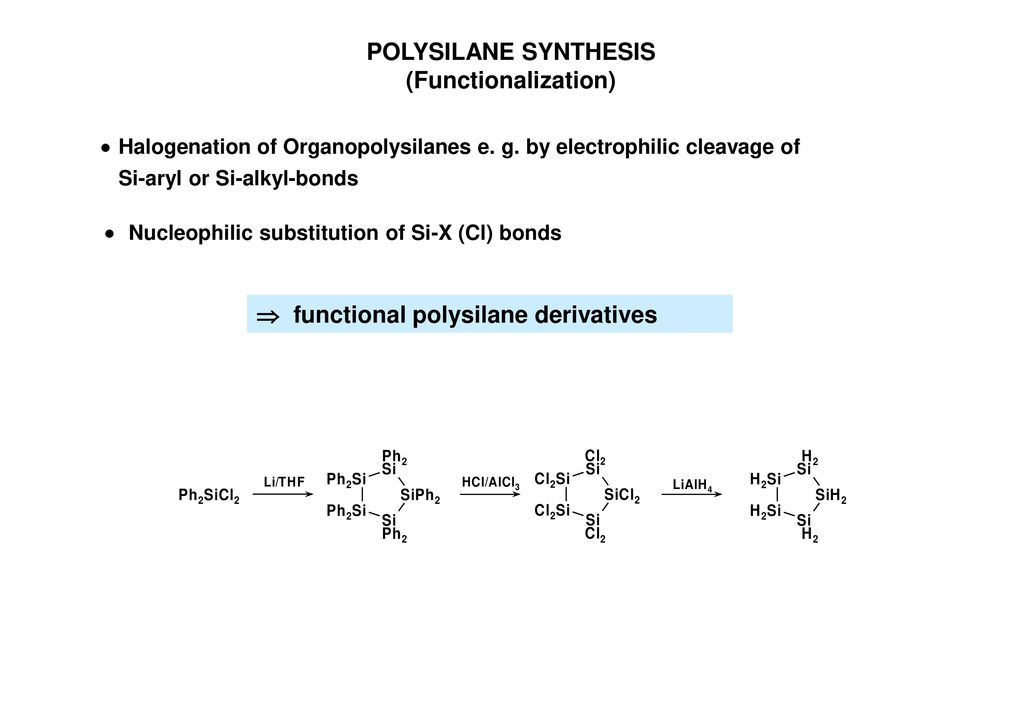 POLYSILANE SYNTHESIS (Functionalization)