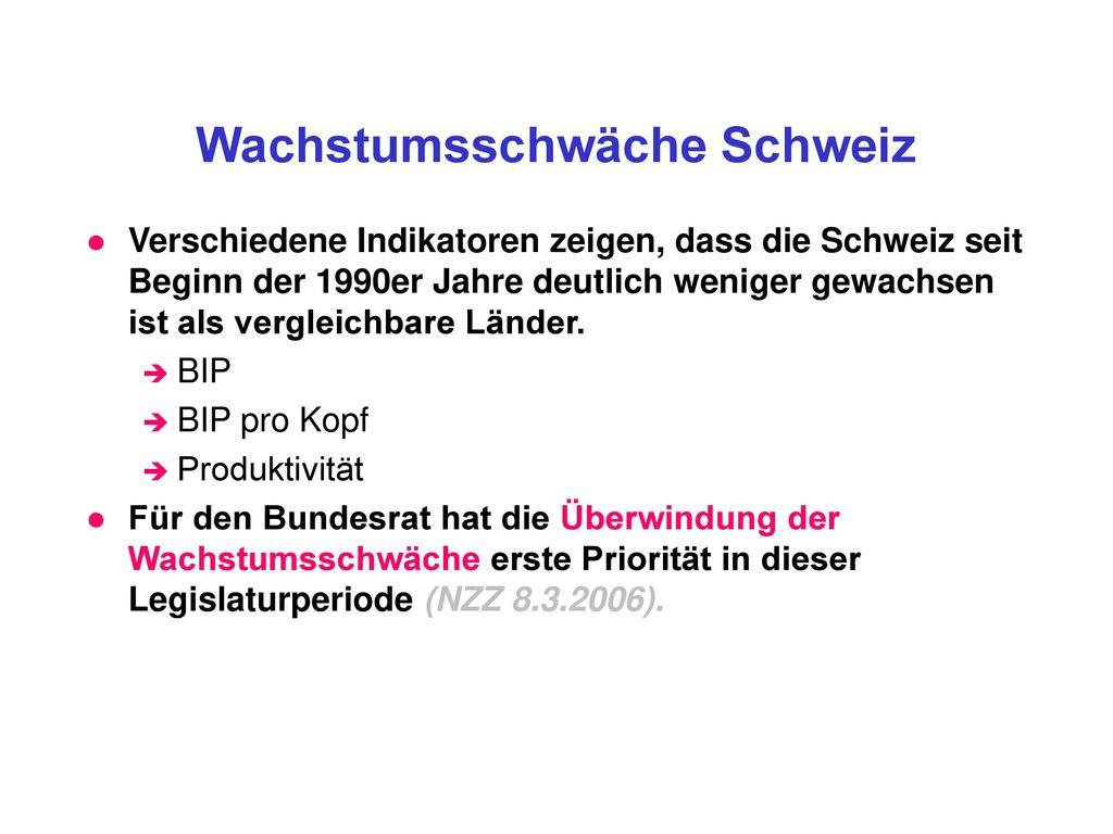 Wachstumsschwäche Schweiz