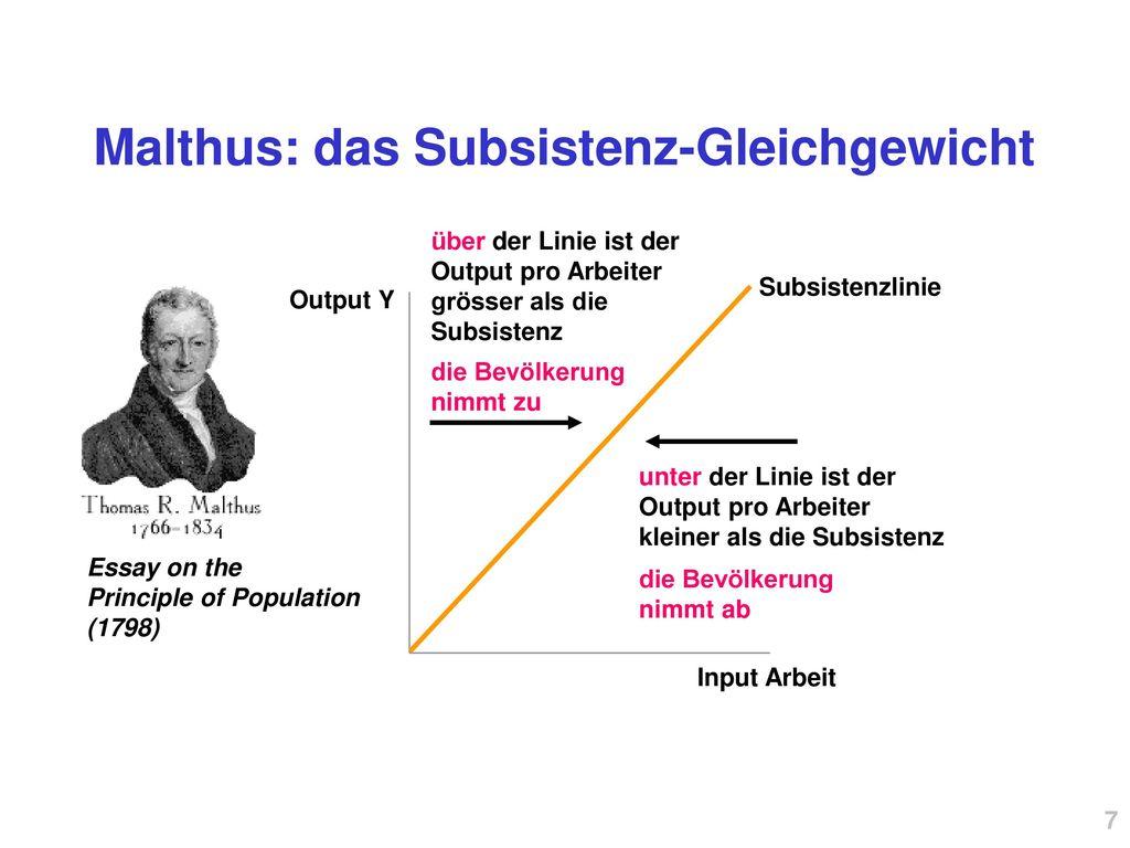 Malthus: das Subsistenz-Gleichgewicht